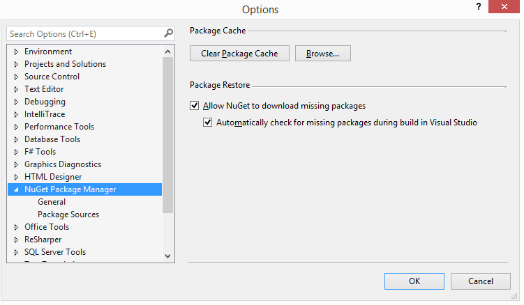 Nuget package manager options